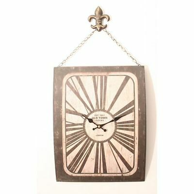 Antique effect Wall clock - Black & White Metal Clock With hanging chain LP20199