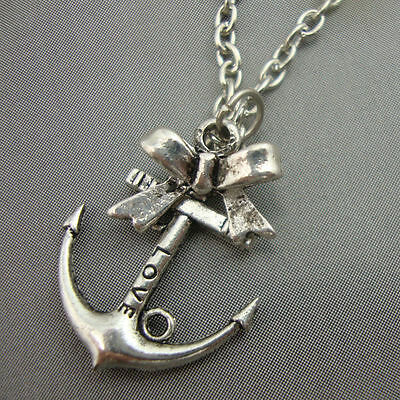 Antique Silver Plated 'Love' Anchor Sailor Necklace with Bow Nautical Kitsch