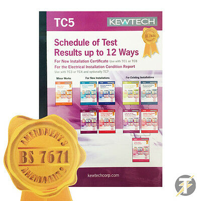 Kewtech Electrical TC5 Schedule of Test Results up to 12 Ways - AMENDMENT 3 2015