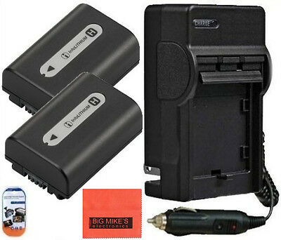 NP-FH50 NPFH50 Battery X2 & Charger for Sony Alpha DSLR-A230 A290 A330 A380 A390