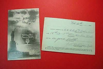 WWI YMCA Postcard NY WELL DONE MEN Statue of Liberty SOLDIER LOCATION CARD 1919