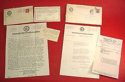 1918 WWI Automobile Club California LETTERS Covers FREE INSURANCE Call For Help