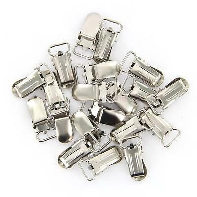 20 pcs Metal Suspender Pacifier Holder Mitten Clips Silver Tone Ring Length 11mm
