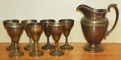 EPNS Evans Electroplated Nickel Silver Hammered Water Pitcher + 7 Cups / Goblets