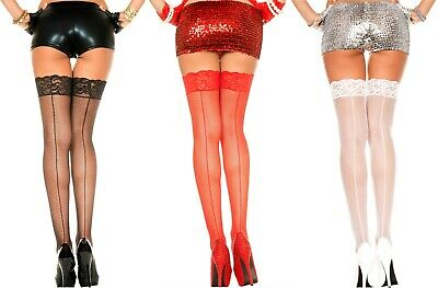 LACE TOP BACK SEAM FISHNET Stockings 3 Colors O/S & PLUS