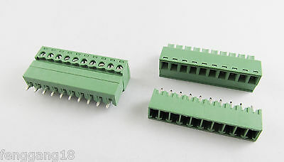 New 10 Pin/Way Pitch 3.81mm Screw Terminal Block Connector Green Pluggable Type