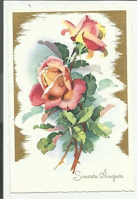 Cartolina Con Fiori Illustrata Sinceri Auguri 70822