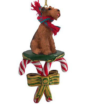 AIREDALE TERRIER DOG CANDY CANE CHRISTMAS ORNAMENT HOLIDAY XMAS gift pet