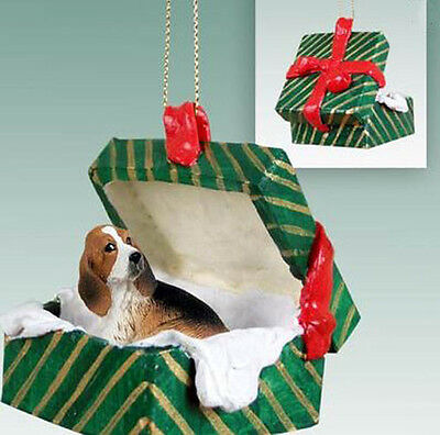 BASSET HOUND DOG CHRISTMAS GIFT BOX ORNAMENT HOLIDAY Present XMAS gift