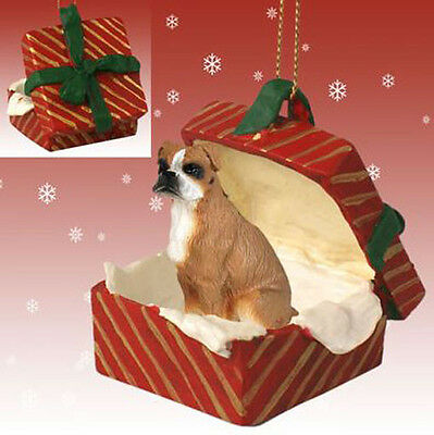 BOXER UNCROPPED BROWN DOG CHRISTMAS GIFT BOX ORNAMENT HOLIDAY Present XMAS PET