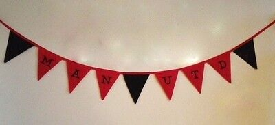 Football Fabric Bunting Banner MANCHESTER UNITED CHRISTMAS GIFT RED & BLACK