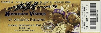 ADRIAN PETERSON IP AUTO SIGNED NFL DEBUT TICKET VIKINGS FULL SIG 1st NFL TD INSC