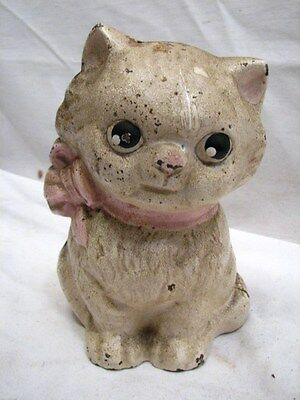Early Hubley Cast Iron Bow Collar Kitten Still Dime Bank Cat Pink Bow Kitty Toy