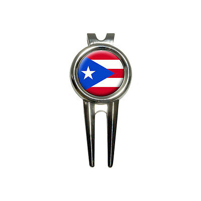 Puerto Rico Puerto Rican Flag - Golf Divot Repair Tool and Ball Marker
