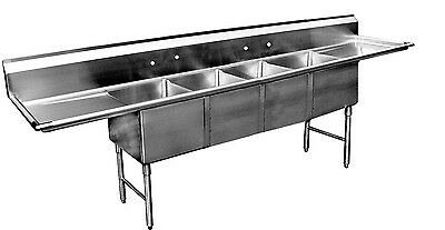 "ACE 4 Compartment Stainless Steel Sink 16""x20"" W/ 18"" Drainboards ETL SE16204D18"