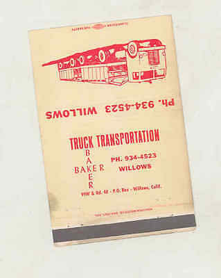 1950's Baker Truck Transportation Large Matchbook Cover Willows CA mb2465