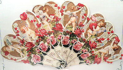 VINTAGE INSPIRED VICTORIAN PAPER FAN GREETING CARD OLD PRINT FACTORY CUPID HEART
