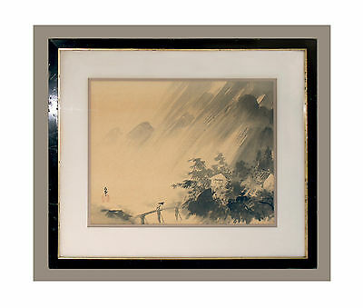 Original Antique Oriental Landscape Ink Wash Painting On Silk