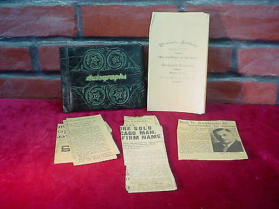 Rare WISCONSIN ACADEMY 1890 Graduating Class PROGRAM & 1930s Autograph Book