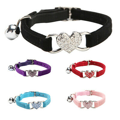 Suede Collar Cat Kitten Dog Puppy Pet Pets safety release adjustable Heart Bling