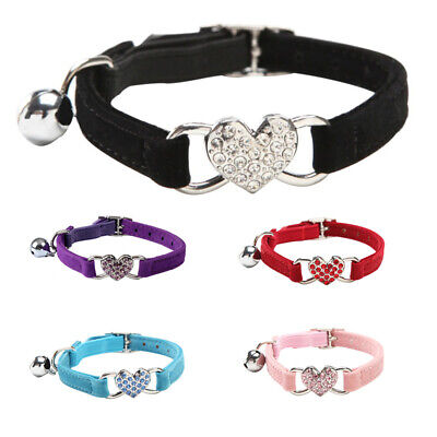 Suede Collar Cat Kitten Dog Puppy Pet safety release adjustable Heart Bling