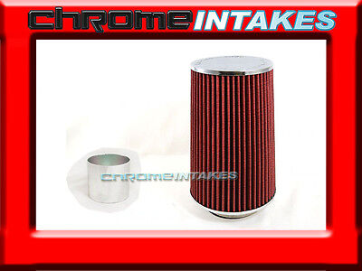 "RED UNIVERSAL 3.5/"" BIG 9/"" FLANGE CONE AIR FILTER FOR GMC SHORT//COLD AIR INTAKE"