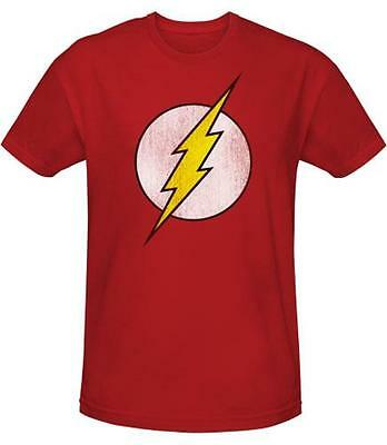Flash - Distressed Logo Mens Red Cotton T-Shirt - New & Official DC Comics