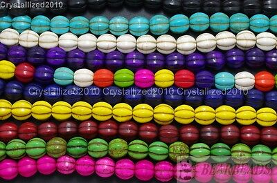 Howlite Turquoise Gemstone Pumpkin Round Shape Loose Beads 10mm 12mm 14mm 16''