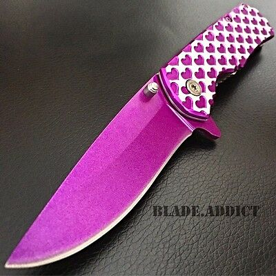 Valentine's Day Gift Ladies Purple HEART Spring Assisted Open Pocket Knife Women