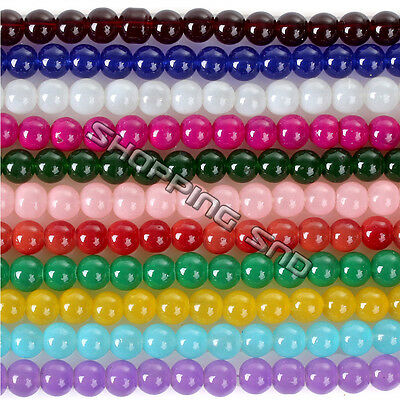 Glass Jade Round Loose Spacer Beads Jelly Charms 15 Colors 4mm 6mm 8mm 10mm 12mm