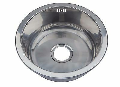 Small 1.0 One Single Round Bowl Stainless Steel Inset Kitchen Sink Sinks M08 mr