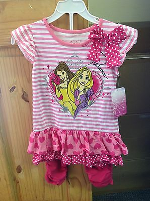 BNWT Girls Disney Princess Two Piece Set Outfit Choose Size Dress Leggings