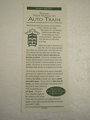 OLDER AMTRAK BROCHURE- TAKING YOUR VEHICLE ON AUTO TRAIN- 1994- (5) NEW- H1