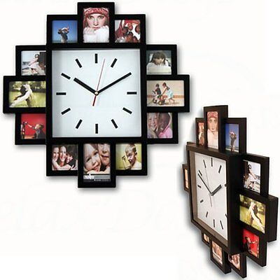 Black New Hanging Modern 12 Multi Photo Family Picture Frame & Time Wall Clock