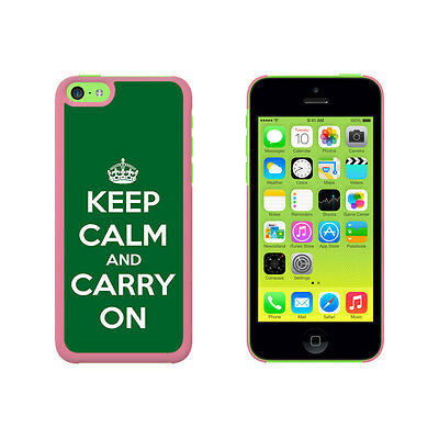 Keep Calm and Carry On Green Hard Protective Case for Apple iPhone 5C - Pink