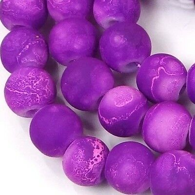 """White 16/"""" 8mm Matte Frosted Neon Rubberized Glass Round Beads"""