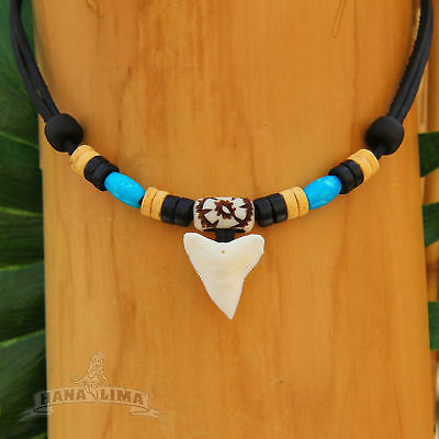 Shark Teeth Necklace with Real Shark Tooth Leather Necklace Boy's Fashion