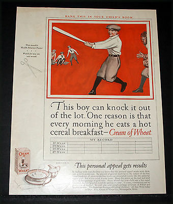 1927 Old Magazine Print Ad, Cream Of Wheat Cereal, Boys Playing Baseball, Art!