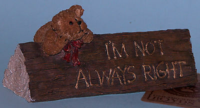 """Boyds Bears desk sign,""""Ms. Perfect... I'm Not Always Right"""" #4137, office bear"""