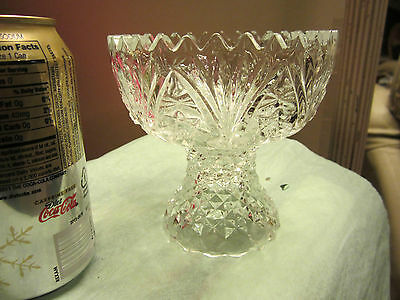EAPG FLINT COMPOTE,BUBBLES,STRAW MARKS, LATE 1800'S, PERFECT. 1 LB,. RING TONE