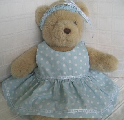 Teddy Bear Clothes, Handmade Abella Pale Blue Dress & Headband