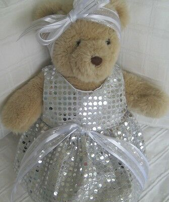 Teddy Bear Clothes, Handmade Tammy Silver Sequinesque Dress & Head ribbon