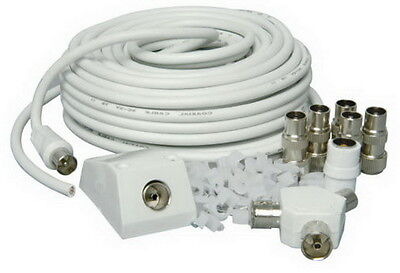 HQ 15m Coaxial TV Extension Kit Aerial Cable Coax Lead Television Wire Plugs