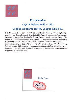 Eric Marsden Crystal Palace 1950-1952 Very Rare Orig Hand Signed Cutting/card