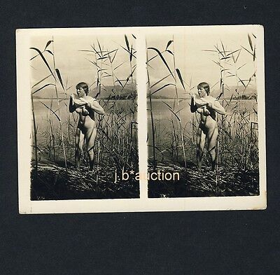Nudism NAKED WOMAN IN THE REED / NACKTE FRAU SEE FKK * Vintage 20s Stereo Photo