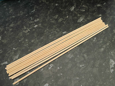 wooden dowel 3mm diameter x 300 mm approx length x 10 NEW