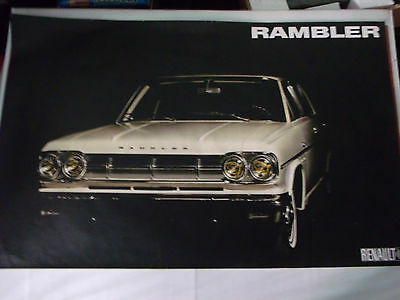 Ancien Poster D'agence Renault Rambler Blanche 100X65