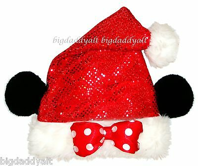 NEW Disney Parks Minnie Mouse Red Sequin Santa Christmas Costume Hat