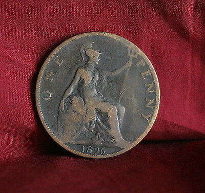 1896 Great Britain 1 Penny Bronze World Coin Britania Seated KM790 UK England