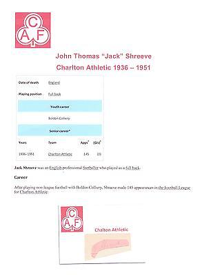 Jack Shreeve Charlton Athletic 1936-1951 Rare Original Hand Signed Cutting/Card